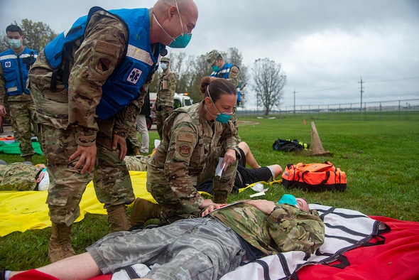 Simulated C-17 aircraft crash as part of an exercise Oct. 7