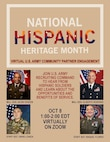 Graphic depicting National Hispanic Heritage Month. 4 portraits of Army personnel.