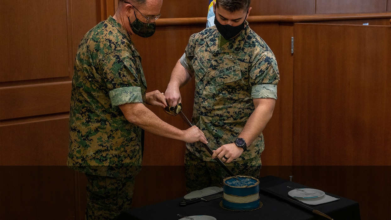 Marines and Sailors with MARFORRES celebrate U.S. Navy's 246th birthday