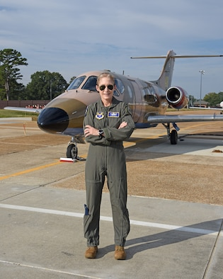 U.S. Air Force Maj. Gen. Jeannie Leavitt, Department of the Air Force chief of safety, Headquaters U.S. Air Force Arlington, VA., and Air Force Safety Center commander, Kirtland Air Force Base, NM., poses for a hero shot, Oct. 14, 2021, on Columbus Air Force Base, Miss. Leavitt was the U.S. Air Force's first female fighter pilot in 1993, and is the first woman to command a USAF combat fighter wing. (U.S. Air Force photo by Elizabeth Owens)
