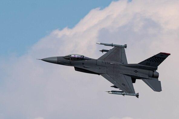 An F-16 takes flight over Osan Air Base, Republic of Korea, October 14, 2021.