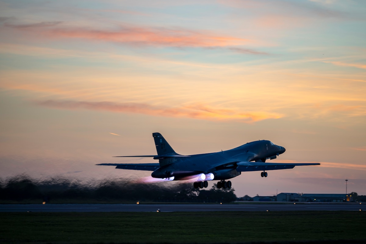 A B-1B Lancer assigned to the 9th Expeditionary Bomb Squadron takes off at RAF Fairford, United Kingdom, Oct. 11, 2021. The 9th EBS conducted a Bomber Task Force training mission utilizing Agile Combat Employment through the execution of a hot-pit refueling at Spangdahlem Air Base, Germany, after integrating with allied Joint Terminal Attack Controllers during a routine weapons training in the Baltic Sea region. (U.S. Air Force photo by Senior Airman Colin Hollowell)