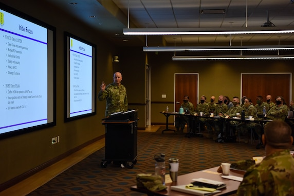 U.S. Air Force Col. Matthew Reilman, 17th Training Wing commander, speaks during the Senior Leaders' Conference at Angelo State University, Texas, Oct. 13, 2021. During the conference, he detailed his priorities and plans for the 17th TRW moving forward under his command. (U.S. Air Force photo by Senior Airman Jermaine Ayers)