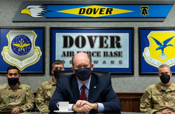 U.S. Sen. Chris Coons listens to Team Dover Airmen speak about their experiences during Operation Allies Refuge missions at Dover Air Force Base, Delaware, Oct. 15, 2021. Coons was also briefed by 436th Civil Engineer Squadron fire department personnel on Fire Prevention Week events and the status of the fire department as a whole. (U.S. Air Force photo by Roland Balik)