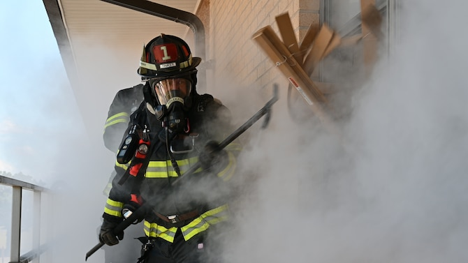 Firefighter in smoky area