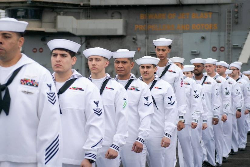 Sailor stand in a line.