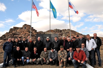 """#OTD in 2012, #Kazakhstan, #Russia and US experts gathered to celebrate completing work to secure """"Plutonium Mountain."""" The monument at Degelen Mountain states """"The World Has Become Safer"""" #SecuringSemipalatinsk #CTR30"""