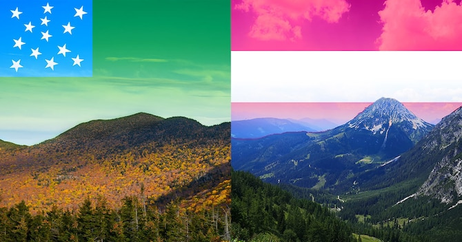 Vermont and Austria, which have similar terrain and economic and agricultural industries, are partnering under the National Guard's State Partnership Program. This image, designed in Adobe Photoshop, contains two cropped photos and two graphics combined with blending techniques.