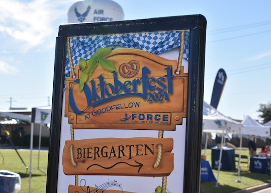 Oktoberfest at Goodfellow celebration at the Event Center Complex on Goodfellow Air Force Base, Texas, Oct. 16, 2021. The 17th Force Support Squadron organized the event with multiple vendors in the local area. (U.S. Air Force photo by Senior Airman Ashley Thrash)