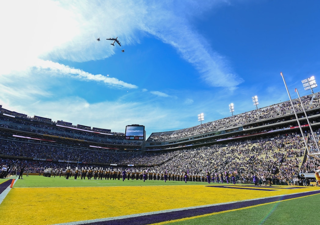 The aircraft flew over the stadium in conjunction with the singing of to the colors as a way to signal the start of the game.