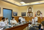 CNO Adm. Mike Gilday delivers remarks in-person and virtually to the Indian Navy at Western Naval Command in Mumbai, Oct. 15, 2021.