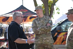 A local veteran and his son attend the annual Veteran's Stand Down event at Santa Maria Fair Park in Santa Maria, Calif., October 16, 2021. Hundreds of veterans attend every year and more than $40,000 worth of supplies are given to those in need yearly. (U.S. Space Force photo by Airman Kadielle Shaw)
