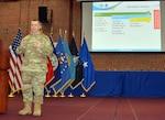 Air Force Brig. Gen. David Sanford holds town hall.