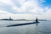 210507-N-ON977-1001 (May 7, 2021) The Virginia-class fast-attack submarine USS New Hampshire (SSN 778) returns to port at Naval Station Norfolk, May 7,2021. New Hampshire returns following a deployment that supported national security interests and maritime security operations at sea. (U.S. Navy photo by Mass Communication Specialist 1st Class Alfred A. Coffield)