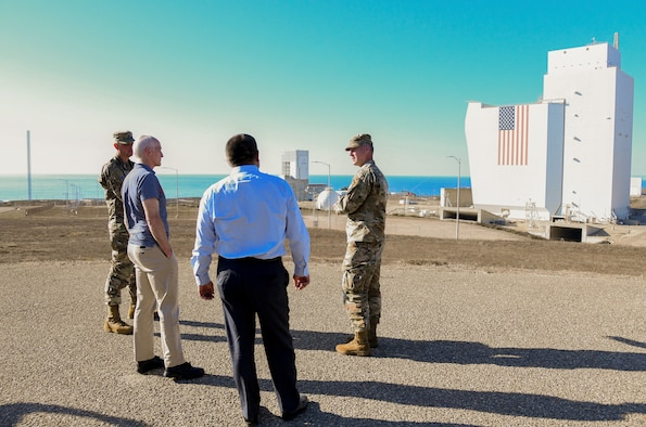 Col. Robert Long, Space Launch Delta 30 commander and Col. Kris Barcomb, SLD 30 vice commander, brief Rep. Adam Smith, House Armed Services Committee chairman and Congressman Salud Carbajal, 24th Congressional District of California representative, on the base infrastructure at Vandenberg Space Force Base, Calif., Oct. 16, 2021. Long and Barcomb gave a tour outside of Space Launch Complex-6 to brief on Vandenberg's commercial launch capabilities. (U.S. Space Force photo by Airman 1st Class Rocio Romo)