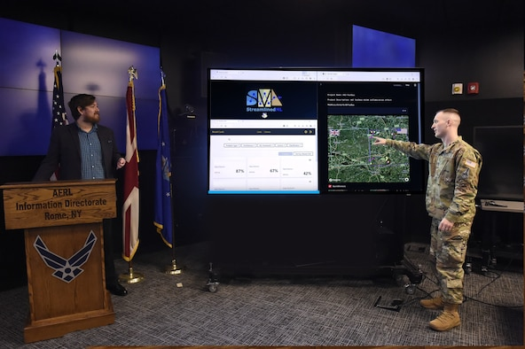 U.S. participants, Air Force Capt. William Dallmann and Cody Kearse of the Air Force Research Laboratory's Information Directorate at Rome, New York, interact with UK and U.S. AI tools during the virtual demonstration as part of the UK and U.S. collaboration for accelerating AI development, Oct. 18, 2021. (Courtesy photo)