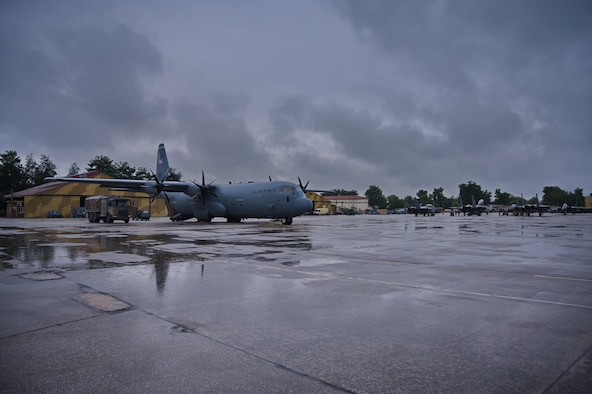 A C-130J Super Hercules aircraft assigned to the 37th Airlift Squadron, Ramstein Air Base, Germany, provides airlift support during Operation Castle Forge at Larissa Air Base, Greece, Oct. 15, 2021. Castle Forge is a U.S. Air Forces Europe-Air Forces Africa-led joint, multinational training event demonstrating the joint force's combined ability to respond in times of crisis with a flexible, reassuring presence. (U.S. Air Force photo by Senior Airman Branden Rae)