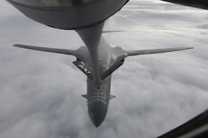 A 9th Expeditionary Bomb Squadron B-1B Lancer, deployed in support of Bomber Task Force Europe 22-1, receives fuel from a 100th Air Refueling Wing KC-135 Stratotanker enroute to a Black Sea maritime targeting training mission, Oct. 19, 2021. The Bomber Task Force Europe mission series requires a joint and coalition force to support strategic bomber deployments within the European theater, which amplifies readiness and promotes interoperability between rotational bomber aircrew, NATO allies, and coalition partners.