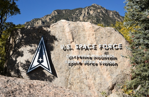 Cheyenne Mountain Space Force Station base entry sign