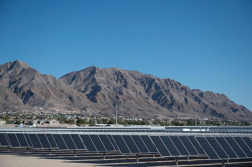 A field of solar panels.