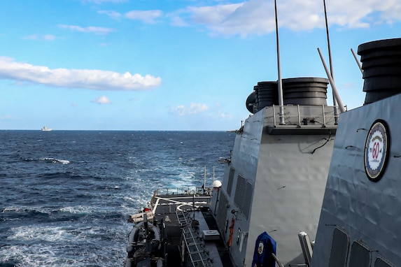 The Arleigh Burke-class guided-missile destroyer USS Porter (DDG 78) participates in ship formation maneuvering exercises while the Italian Navy conducts live fire gunnery exercises as part of Mare Aperto, Oct. 15, 2021. Porter, forward-deployed to Rota, Spain, is on its 10th Patrol in the U.S. Sixth Fleet area of operations in support of U.S. national security interests in Europe and Africa.