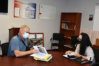 Radiological Engineering Division Head Scott Cooney with Health Physicist Jeanette Walden during a shadow session.