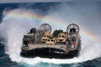 LCAC 85 transports Marine Corps equipment from Camp Lejeune, N.C. to USS Kearsarge (LHD 3).