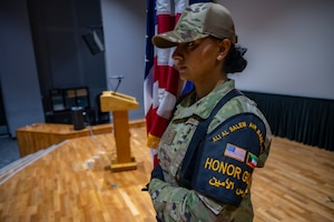 Senior Airman Ramandeep Kaur, assigned to the Office of Special Investigations 242nd Detachment Locally Employed Persons Screening Team, participates in honor guard practice at Ali Al Salem Air Base, Kuwait, Oct. 19, 2021.