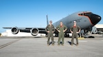 U.S. Air Force Capt. Kemper Peterson, left, 909th Air Refueling Squadron instructor pilot, Capt. Shelby Clark, 909th ARS pilot, and Staff Sgt. Andrew Chance, 909th Air Refueling Squadron boom operator, stand in front of a KC-135 Stratotanker on Kadena Air Base, Japan, Oct. 15, 2021. Clark was the primary aerial refueling tanker coordinator for a Combat Search and Rescue Training event. The training focused on maximizing integration while taking advantage of the unique opportunity presented to practice Personnel Recovery across the Pacific Region.