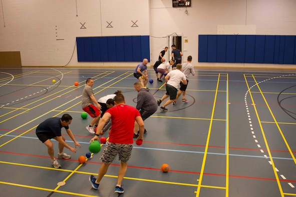 Airmen and Guardians play dodgeball
