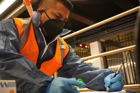 New York Army National Guard Staff Sgt Jonathan Vasconez, a member of the New York National Guard's 24th Civil Support Team, takes notes while collecting data at a testing location in the World Trade Center Subway Station in New York City Oct. 19, 2021, while participating in a study on how chemical and biological agents would disperse in a big city. The New York National Guard's 24th Civil Support Team, based in New York City, hosted 124 Guard Soldiers and Airmen from around the country who participated in the Department of Homeland Security study.