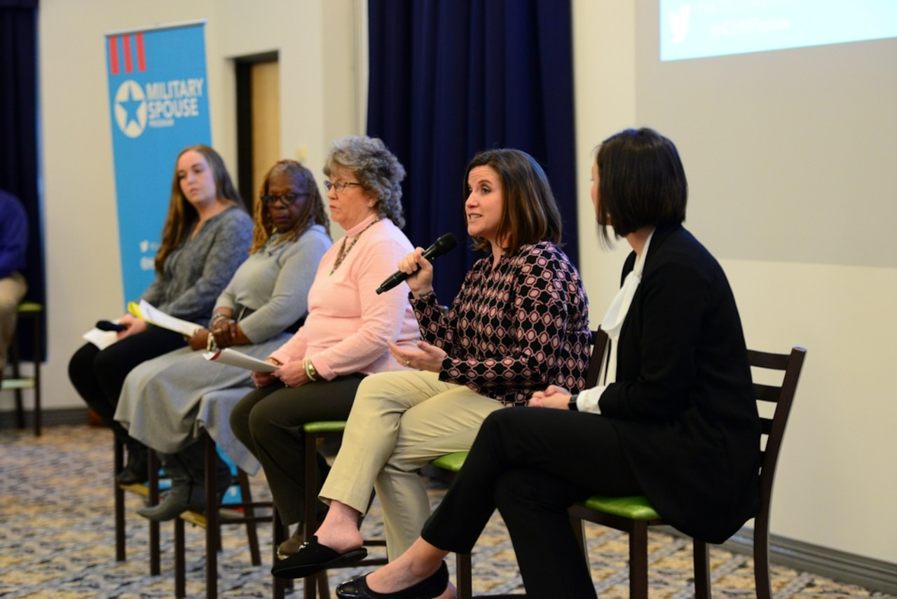 Military spouses take part in an education and employment panel.