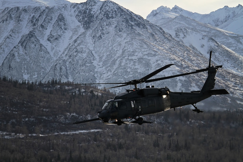 An Alaska Air National Guard HH-60 Pave Hawk from the 210th Rescue Squadron on a training flight near Joint Base Elmendorf-Richardson in February 2013.