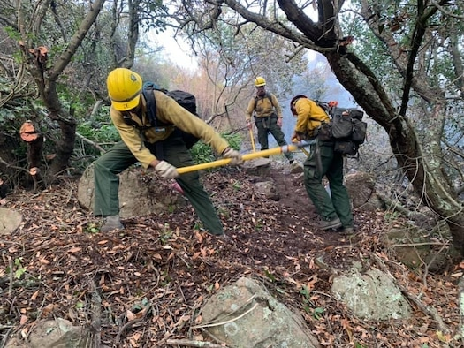 Firefighters assigned to the 30th Civil Engineer Squadron sift the ground to combat the Alisal Fire Oct. 11, 2021, at Los Padres National Forest in Goleta, Calif. Sifting the ground is part of the firefighters training they take at Vandenberg. (Courtesy photo)