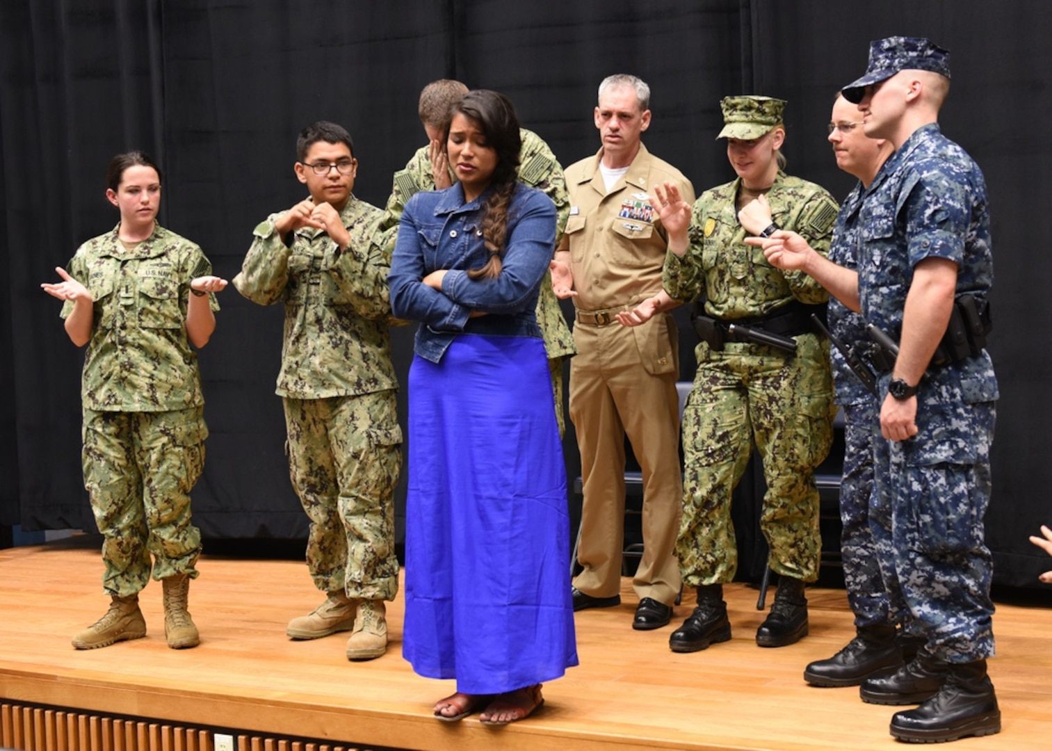 CHINHAE, Republic of Korea, (June 19, 2015) Sailors from Commander. Naval Forces Korea participate with actor Briza Covarrubias of the acting troupe InterACT during a Sexual Assault Prevention and Response training scenario at Commander, Fleet Activities Chinhae. (U.S. Navy photo by Mass Communication Specialist 1st Class Abraham Essenmacher/Released)