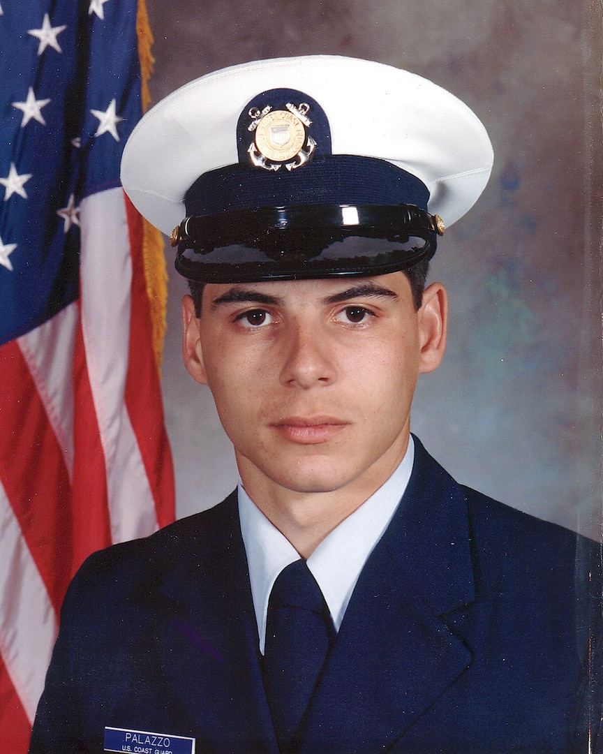 Official Coast Guard photograph of Petty Officer 1st Class Jeffrey Palazzo early in his Coast Guard career. (U.S. Coast Guard)
