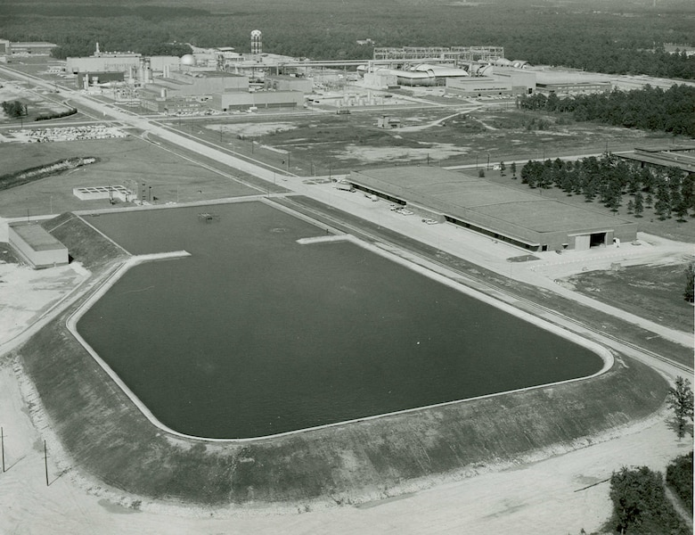 This photo from 1961 shows how the secondary reservoir on Arnold Air Force Base appeared following the completion of a 45-million gallon capacity addition to the original 13-million gallon reservoir. (U.S. Air Force photo)