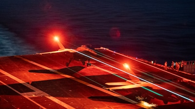 USS Carl Vinson (CVN 70) conducts flight operations in the Pacific Ocean.