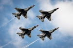 The Thunderbirds fly in formation at the Sound of Speed Air Show in  St. Joseph, Missouri, May 2, 2021.