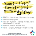 Connect to Protect: Support is within reach in 5 ways graphic.