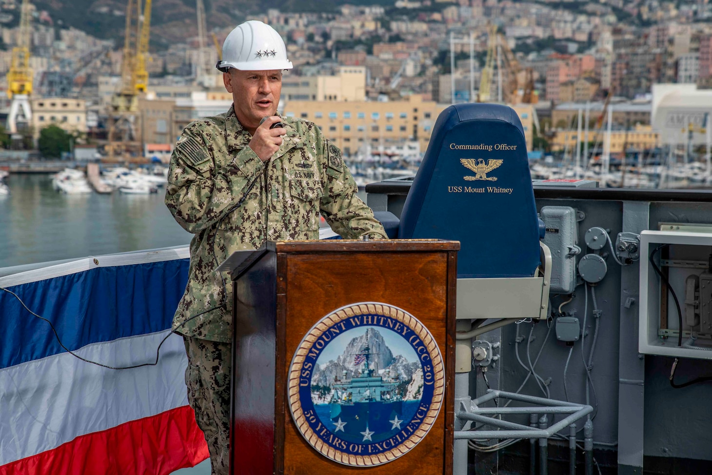 (Aug 31, 2021) Vice Adm. Gene Black, commander, U.S. Sixth Fleet, speaks during the change of command of the Blue Ridge-class command and control ship USS Mount Whitney (LCC 20) in San Giorgio Del Porto in Genoa, Italy, August, 31, 2021.  Mount Whitney, the U.S. Sixth Fleet flagship, homeported in Gaeta, Italy entered its regularly scheduled overhaul to make improvements in order to increase the security and stability of the U.S. Sixth Fleet area of operations.