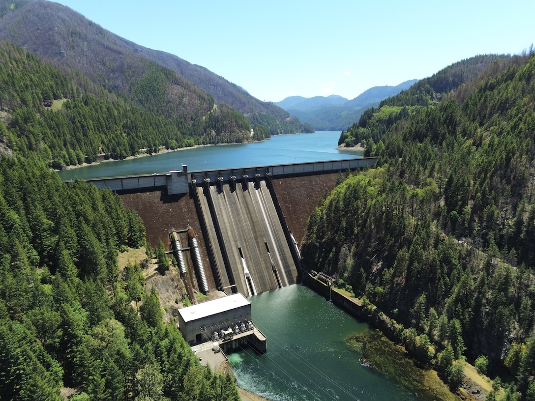 Detroit Dam, east of Salem, Ore. impounds water from the North Santiam River. Its large storage reservoir allows downstream users to have a consistent amount of water year-round but especially during long, hot summers and droughts. According to public scoping comments from city of Salem officials during a U.S. Army Corps of Engineers Draft Environmental Impact Statement (page 246) for downstream fish passage at Detroit Dam, the city's intake for drinking water needs 750 cubic feet per second to operate (as of August 9, the combined tributaries of the North Santiam and Little North Santiam rivers were providing 413 cubic feet per second of water). (U.S. Army photo by Todd Manny)