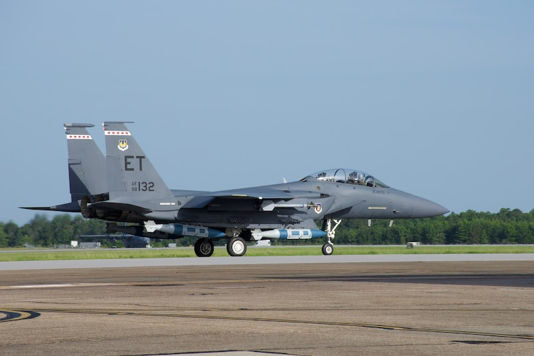 The 85th Test and Evaluation Squadron partnered with the  Air Force Research Laboratory to equip the F-15E Strike Eagle with modified 2,000-pound GBU-31 Joint Direct Attack Munitions. The goal of this test was to validate a new way to employ air-delivered munitions on ships that will change the maritime target lethality paradigm. (U.S. Air Force photo by 1st Lt Lindsey Heflin)