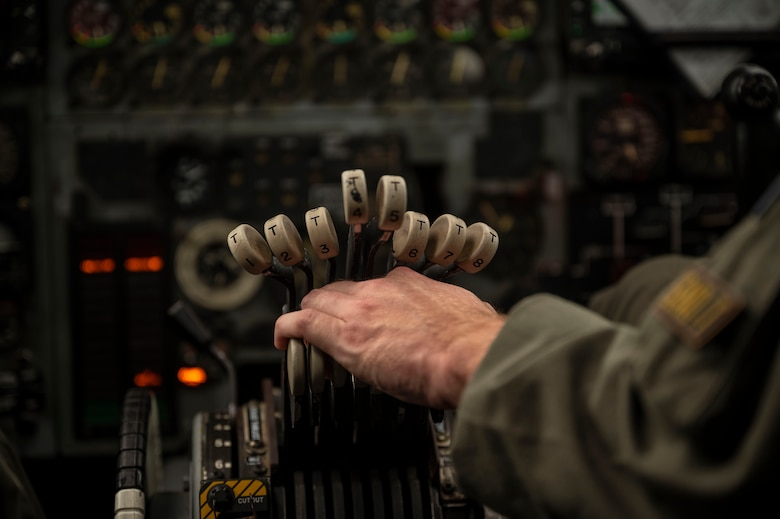 A U.S. Air Force B-52 Stratofortress aircrew member assigned to the 20th Bomb Squadron, Barksdale Air Force Base, Louisiana, prepares to take off August 31, 2021, at Andersen Air Force Base, Guam. This deployment allows aircrew and support personnel to conduct theater integration and to improve bomber interoperability with allies and partners. (U.S. Air Force photo by Senior Airman Charles T. Fultz)