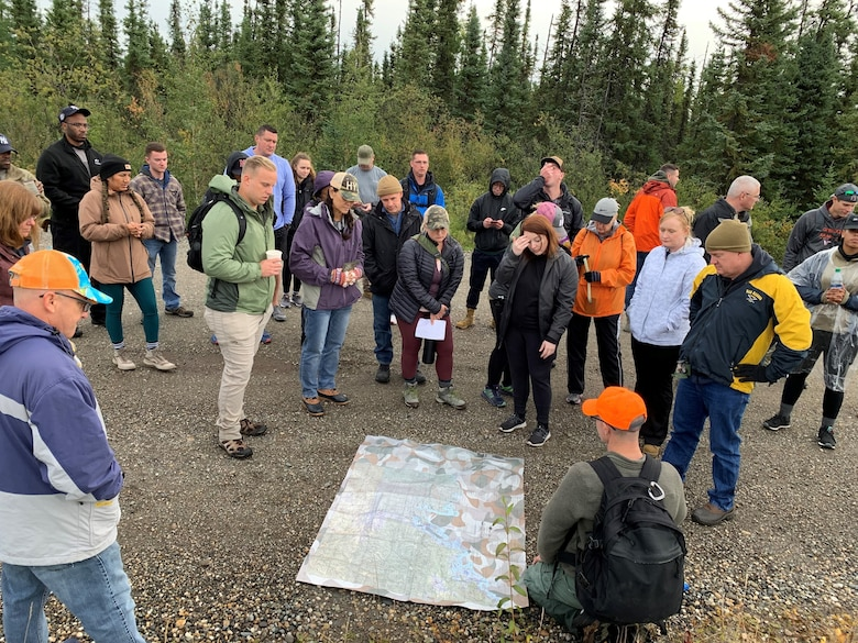 Members of the Tennessee Air National Guard from a variety of career fields participated in land navigation and survival skill training in the more rural parts of Eielson Air Force Base, Alaska, Aug. 19, 2021. Survival skills learned included fire production, emergency rations, map reading, signaling for help, and procuring shelter.