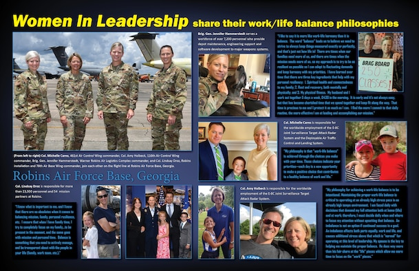 Graphic has multiple personal pictures and a group picture along with quotes about work-life philosophy from each commander.