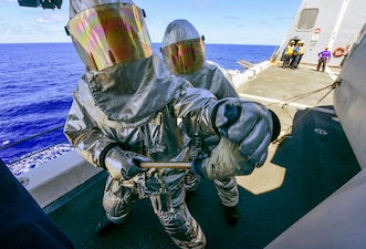 Damage control training aboard USS John P. Murtha (LPD 26).