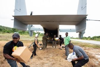Marines deliver food in Jeremie, Haiti.
