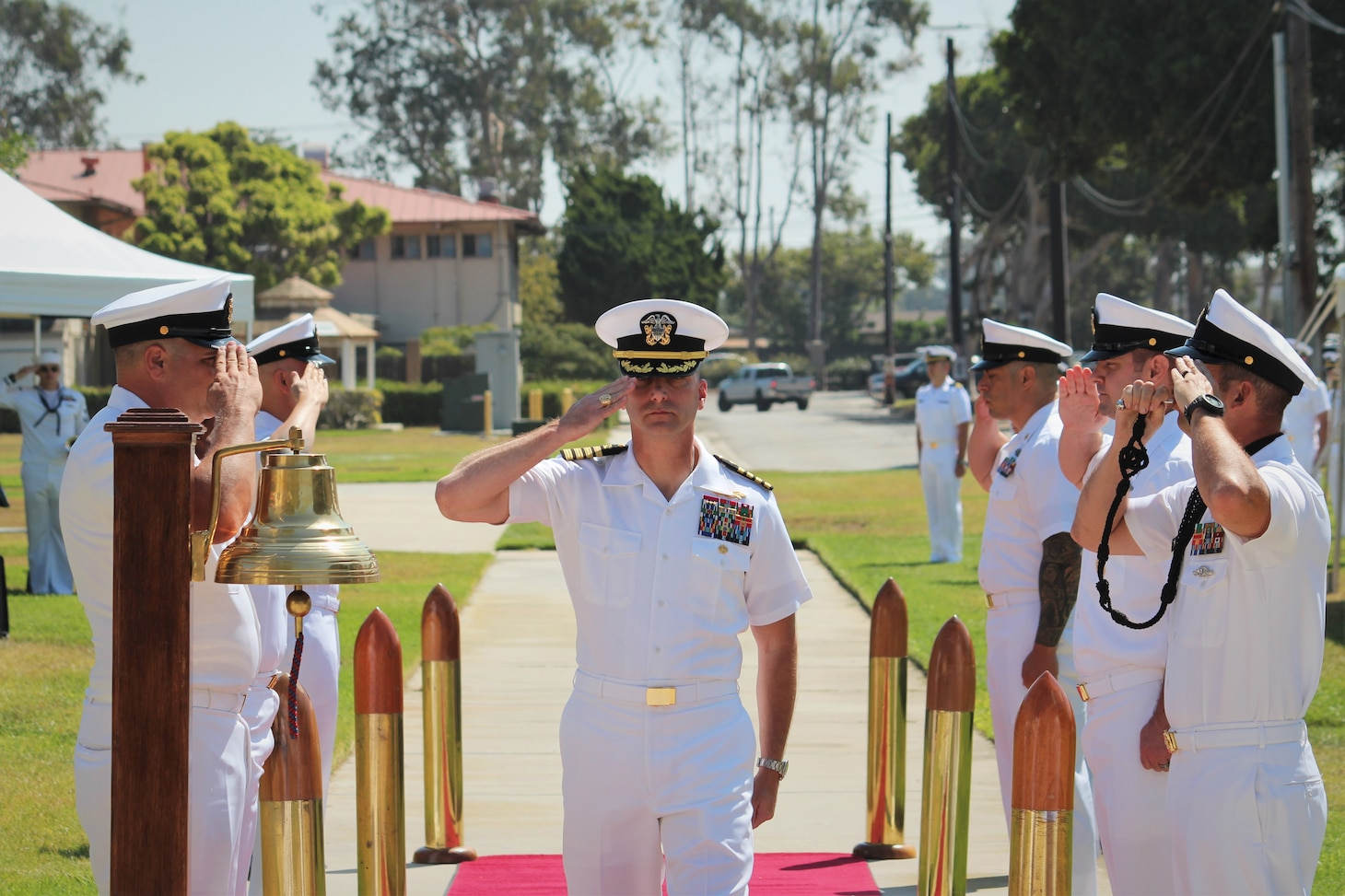 PORT HUENEME, Calif. (Aug. 26, 2021) Capt. Peter Maculan pipes ashore as the new commanding officer of the Center for Seabees and Facilities Engineering (CSFE) during a change of command ceremony Aug. 26. CSFE trains civil engineering corps officers, enlisted Seabees and environmental professionals. (U.S. Navy photo by Amber Vaglica)