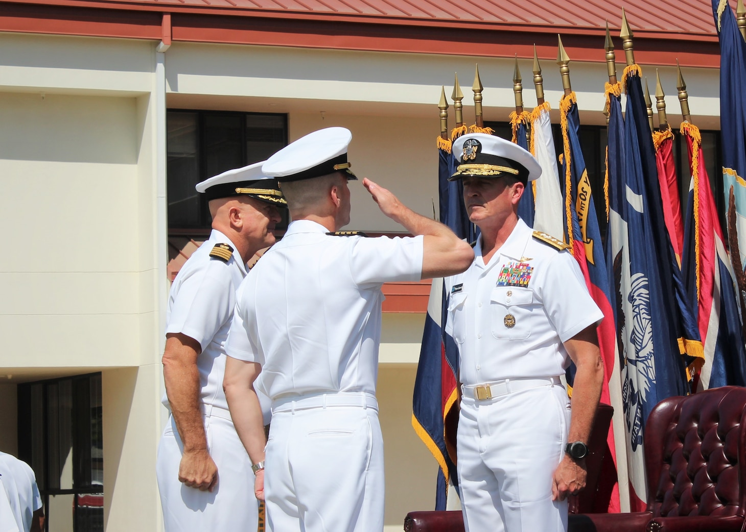 PORT HUENEME, Calif. (Aug. 26, 2021) Capt. Peter Maculan, left, reports assumption of command to Rear Adm. Peter Garvin during the Center for Seabees and Facilities Engineering (CSFE) change of command Aug. 26. CSFE trains civil engineering corps officers, enlisted Seabees and environmental professionals. (U.S. Navy photo by Amber Vaglica)